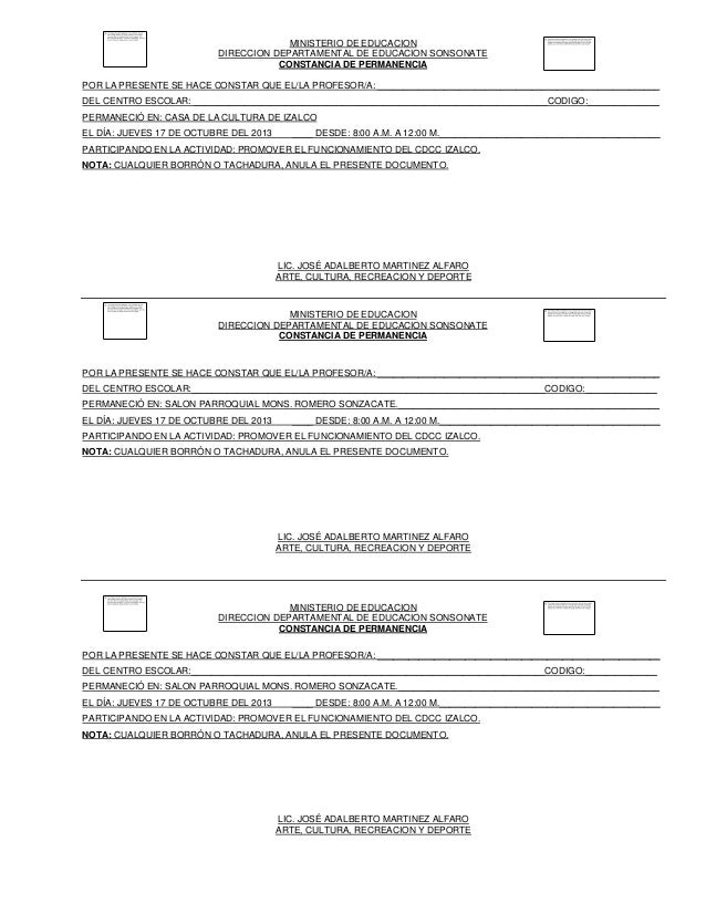 MINISTERIO DE EDUCACION DIRECCION DEPARTAMENTAL DE EDUCACION SONSONATE CONSTANCIA DE PERMANENCIA POR LA PRESENTE SE HACE C...