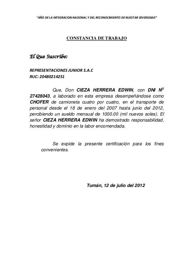 """""""AÑO DE LA INTEGRACION NACIONAL Y DEL RECONOCIMIENTO DE NUESTAR DIVERSIDAD""""  CONSTANCIA DE TRABAJO  El Que Suscribe: REPRE..."""