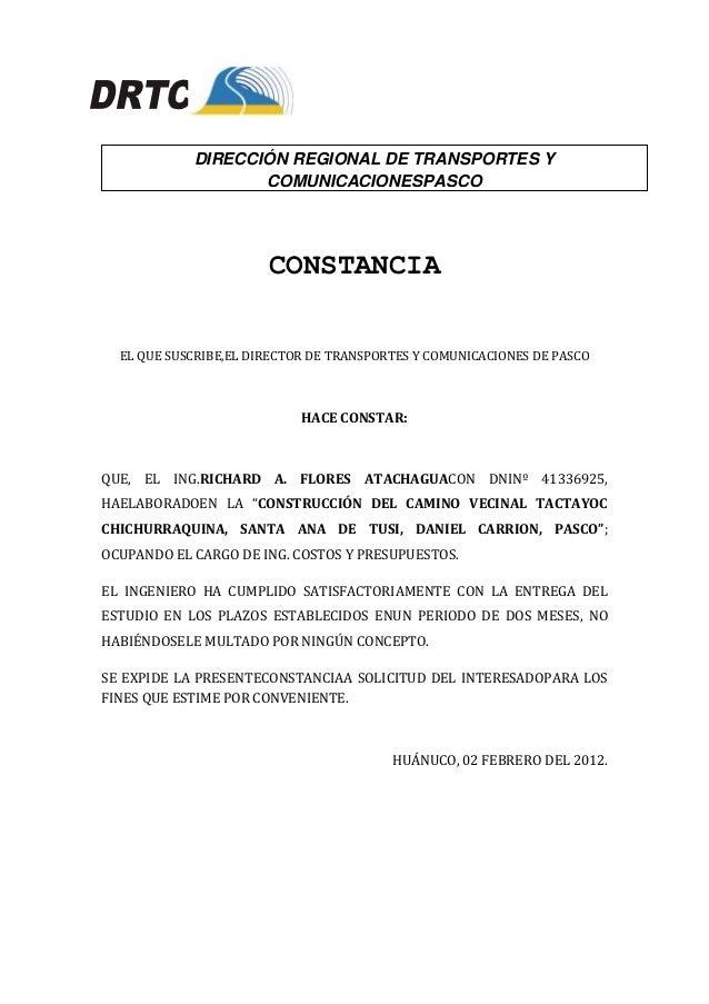 DIRECCIÓN REGIONAL DE TRANSPORTES Y                   COMUNICACIONESPASCO                       CONSTANCIA  EL QUE SUSCRIB...