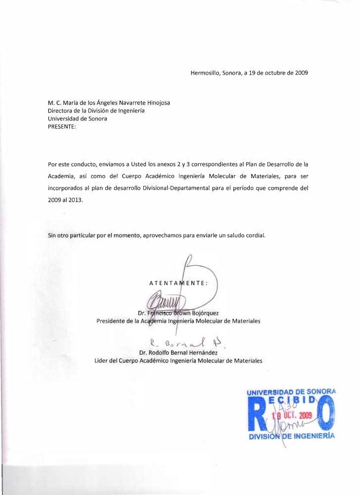 Hermosillo, Sonora, a 19 de octubre de 2009     M. C. Marfa de los Angeles Navarrete Hinojosa Directora de la Divisi6n de ...