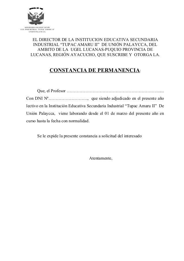 "MINISTERIO DE EDUCACION I.E.S. INDUSSTRIAL ""TUPAC AMARU II"" UNION PALAYCCA.  EL DIRECTOR DE LA INSTITUCION EDUCATIVA SECUN..."