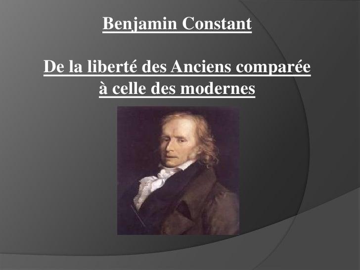 Benjamin Constant<br />De la liberté des Anciens comparée à celle des modernes<br />