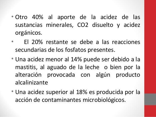 • Otro 40% al aporte de la acidez de las sustancias minerales, CO2 disuelto y acidez orgánicos. • El 20% restante se debe ...