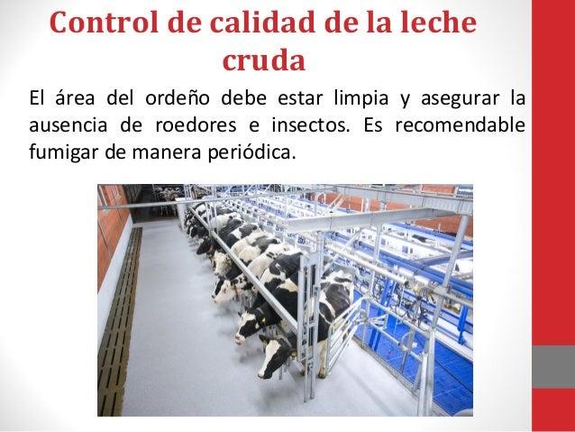Control de calidad de la leche • También deben verificarse parámetros como la acidez de la leche, el pH y la densidad .