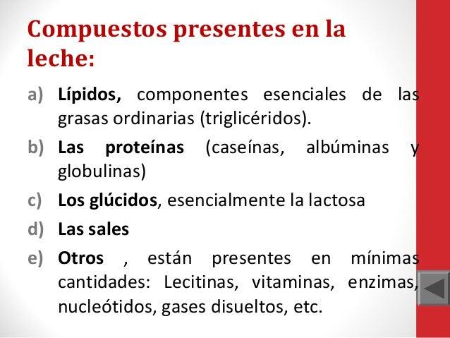 Compuestos presentes en la leche: a) Lípidos, componentes esenciales de las grasas ordinarias (triglicéridos). b) Las prot...
