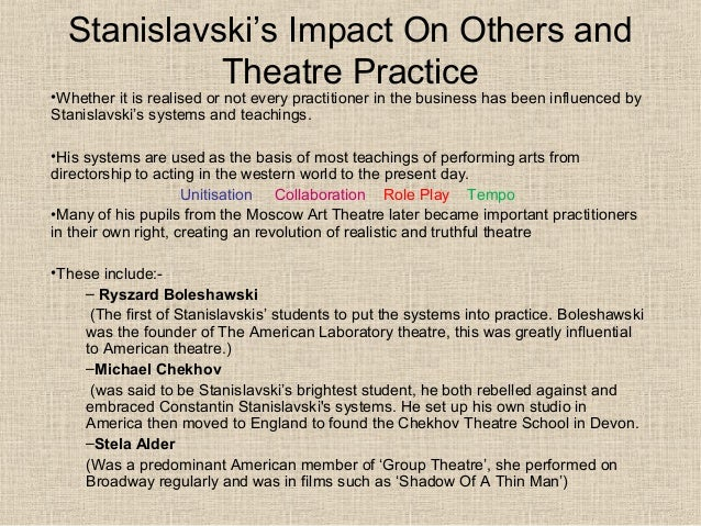 stanislavskis method of acting The stanislavski method is different to lee strasberg's method acting, where the person must completely become the character.