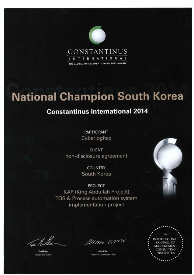 CONSTANTINUS  I N T E R N A T I O N A L THE GLOBAL MANAGEMENT CONSULTING AWARD  National Champion South Korea  Constantinu...