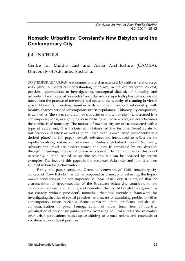Graduate Journal of Asia-Pacific Studies 4:2 (2004), 29-52  Nomadic Urbanities: Constant's New Babylon and the Contemporar...