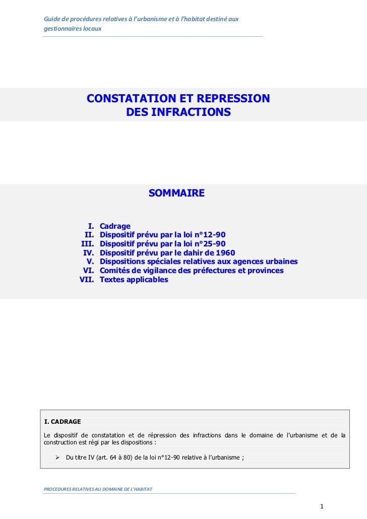 Guide de procédures relatives à l'urbanisme et à l'habitat destiné auxgestionnaires locaux                 CONSTATATION ET...