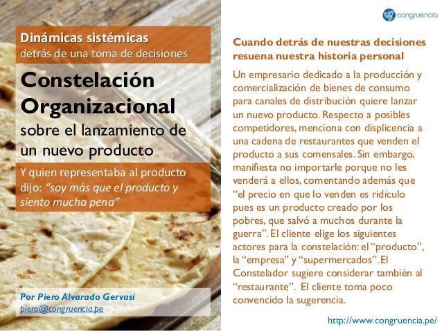 http://www.congruencia.pe/ Dinámicas sistémicas detrás de una toma de decisiones Constelación Organizacional sobre el lanz...
