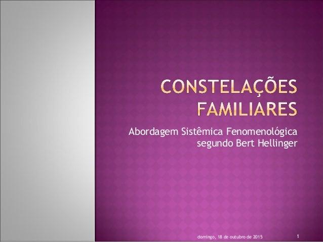 Abordagem Sistêmica Fenomenológica segundo Bert Hellinger 1domingo, 18 de outubro de 2015