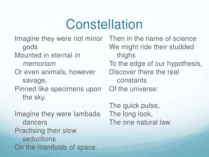 Constellation poem