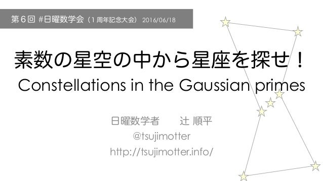 Constellations in the Gaussian primes @tsujimotter http://tsujimotter.info/ # 2016/06/18