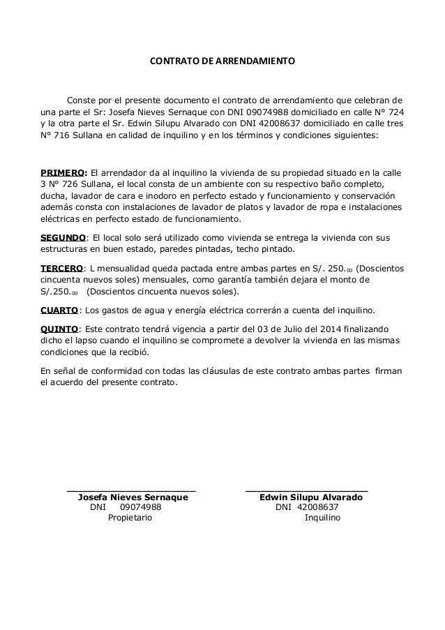 Constancia for Contrato documento