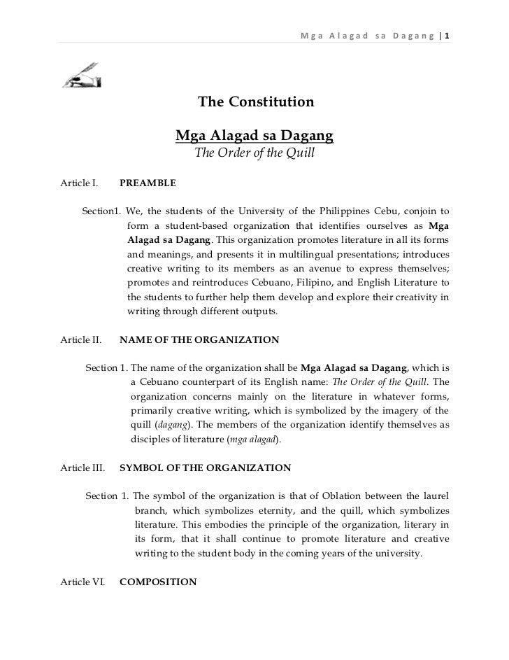 Mga A lagad sa Da gang |1                               The Constitution                          Mga Alagad sa Dagang    ...