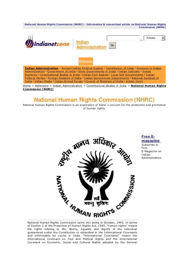 National Human Rights Commission (NHRC) - Informative & researched article on National Human Rights                       ...