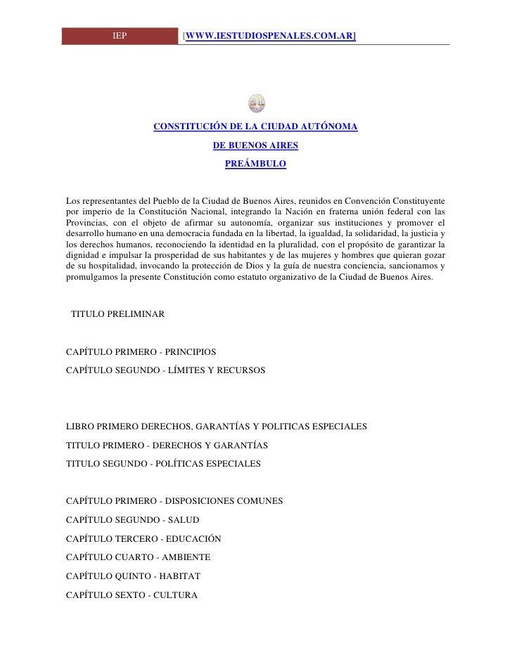 IEP                [WWW.IESTUDIOSPENALES.COM.AR]                            CONSTITUCIÓN DE LA CIUDAD AUTÓNOMA            ...