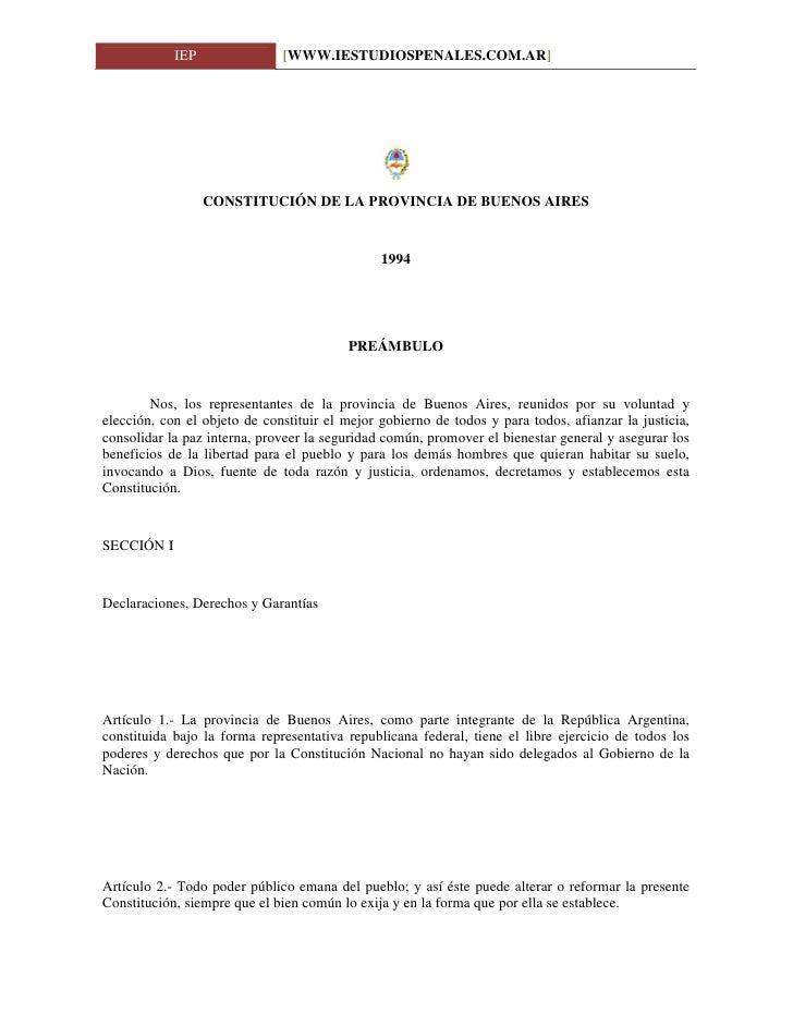 IEP               [WWW.IESTUDIOSPENALES.COM.AR]                       CONSTITUCIÓN DE LA PROVINCIA DE BUENOS AIRES        ...
