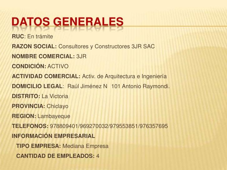 CONSULTORA Y CONSTRUCTORA 3JR SAC Slide 3