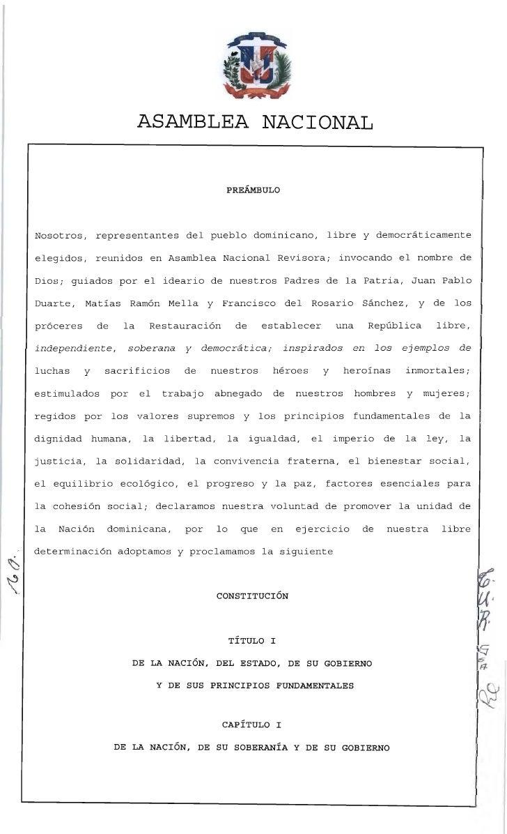 ASAMBLEA NACIONAL                                                 PREÁMBULO    Nosotros,      representantes del pueblo do...