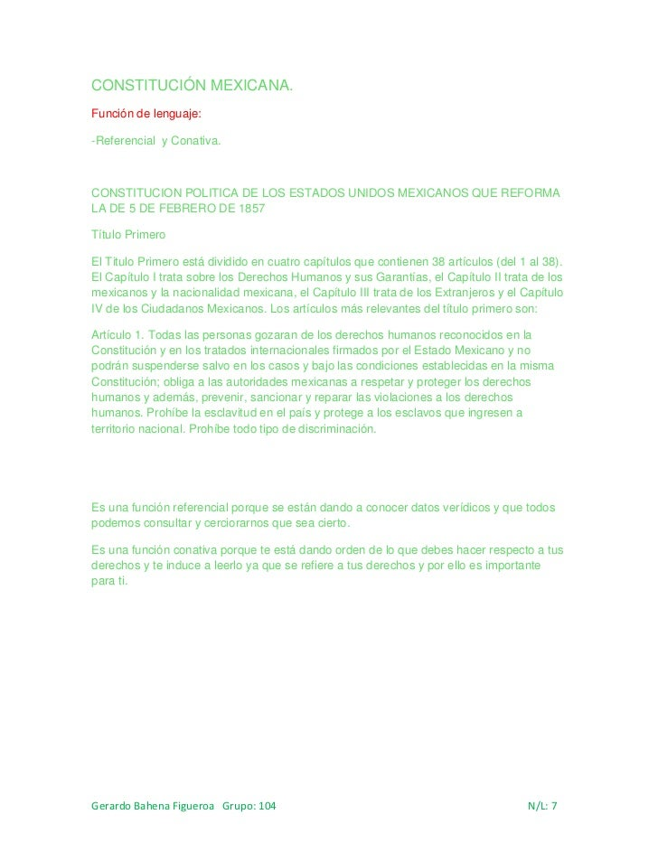 CONSTITUCIÓN MEXICANA.Función de lenguaje:-Referencial y Conativa.CONSTITUCION POLITICA DE LOS ESTADOS UNIDOS MEXICANOS QU...
