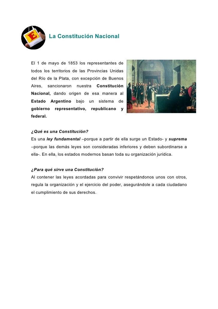 La Constitución Nacional    El 1 de mayo de 1853 los representantes de todos los territorios de las Provincias Unidas del ...