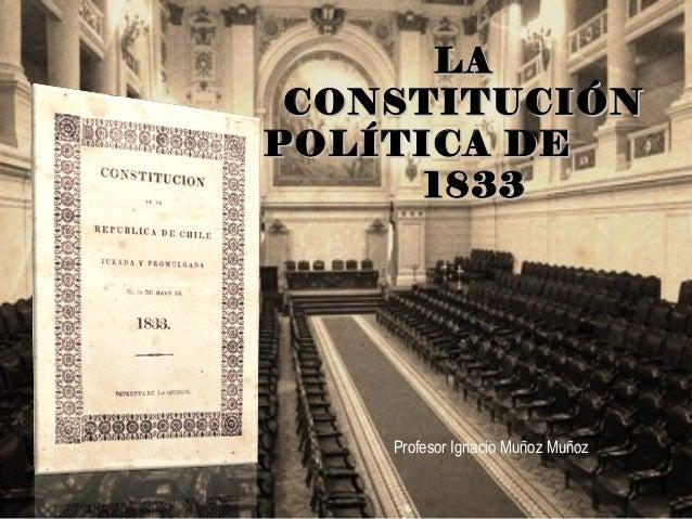 LALA CONSTITUCIÓNCONSTITUCIÓN POLÍTICA DEPOLÍTICA DE 18331833 Profesor  Ignacio Muñoz Muñoz ...