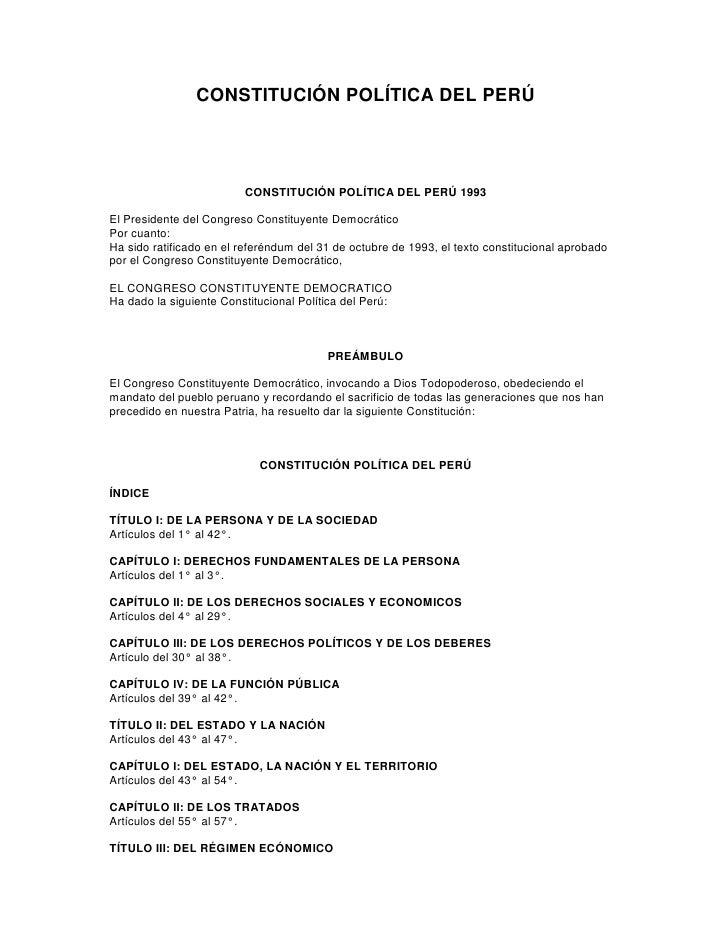 CONSTITUCIÓN POLÍTICA DEL PERÚ                         CONSTITUCIÓN POLÍTICA DEL PERÚ 1993El Presidente del Congreso Const...