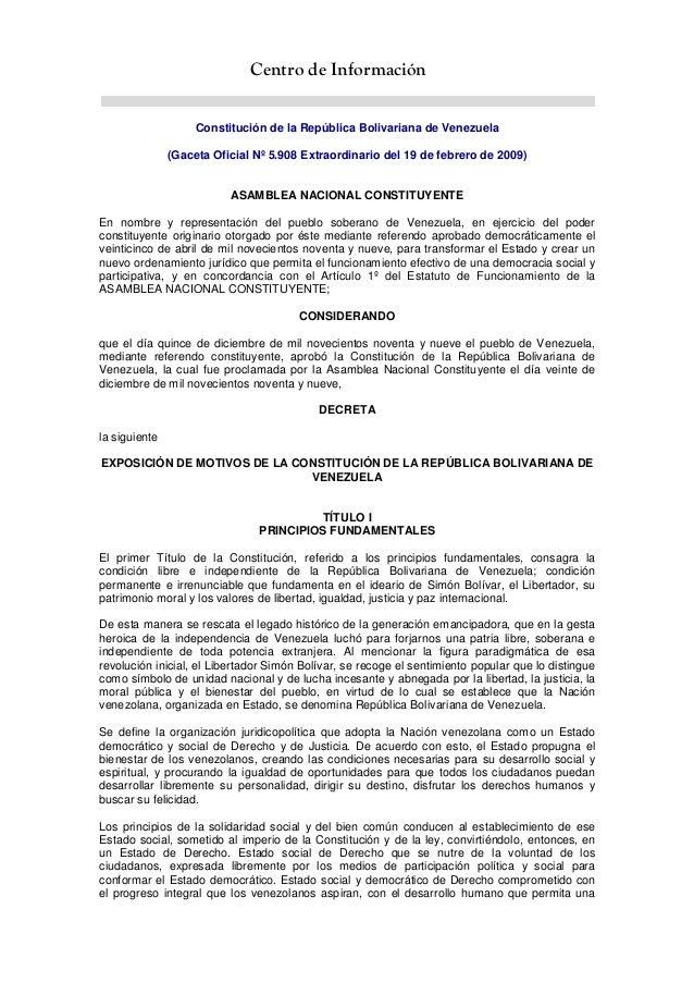 Centro de InformaciónConstitución de la República Bolivariana de Venezuela(Gaceta Oficial Nº 5.908 Extraordinario del 19 d...