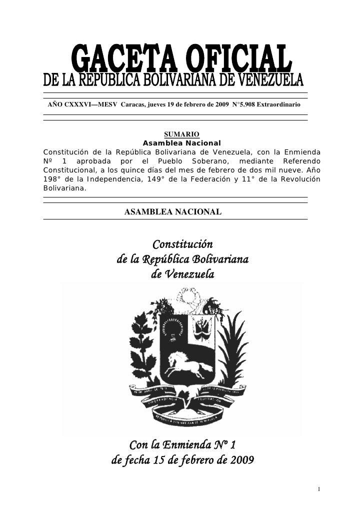 AÑO CXXXVI—MESV Caracas, jueves 19 de febrero de 2009 N°5.908 Extraordinario                                  SUMARIO     ...