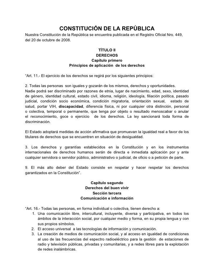 CONSTITUCIÓN DE LA REPÚBLICANuestra Constitución de la República se encuentra publicada en el Registro Oficial Nro. 449,de...