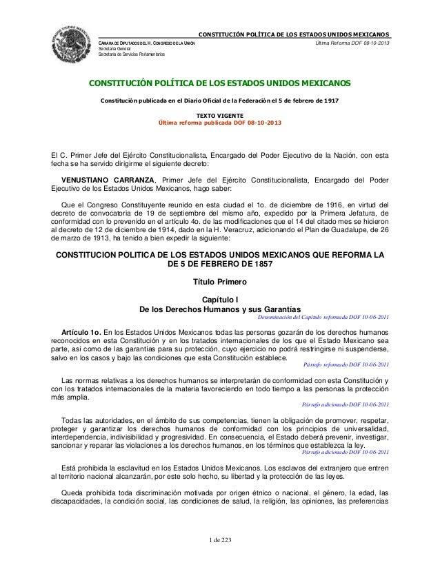 CONSTITUCIÓN POLÍTICA DE LOS ESTADOS UNIDOS MEXICANOS CÁMARA DE DIPUTADOS DEL H. CONGRESO DE LA UNIÓN  Última Reforma DOF ...