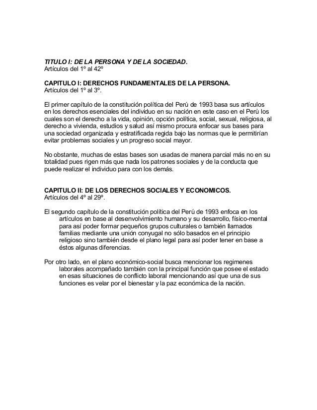 TITULO I: DE LA PERSONA Y DE LA SOCIEDAD. Artículos del 1º al 42º CAPITULO I: DERECHOS FUNDAMENTALES DE LA PERSONA. Artícu...