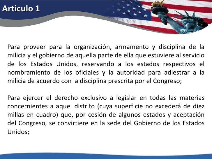 Articulo 1<br />Para proveer para la organización, armamento y disciplina de la milicia y el gobierno de aquella parte de ...