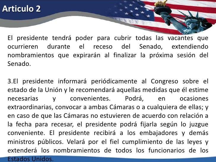 Articulo 2<br />El presidente tendrá poder para cubrir todas las vacantes que ocurrieren durante el receso del Senado, ext...