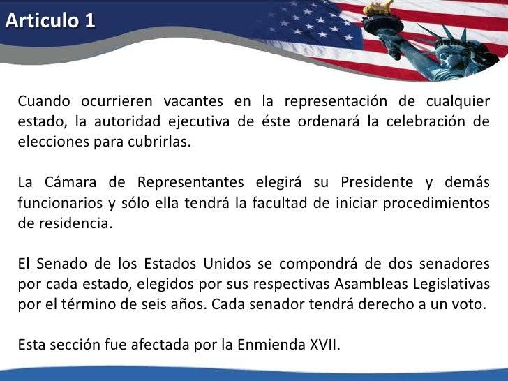 Articulo 1<br />Cuando ocurrieren vacantes en la representación de cualquier estado, la autoridad ejecutiva de éste ordena...