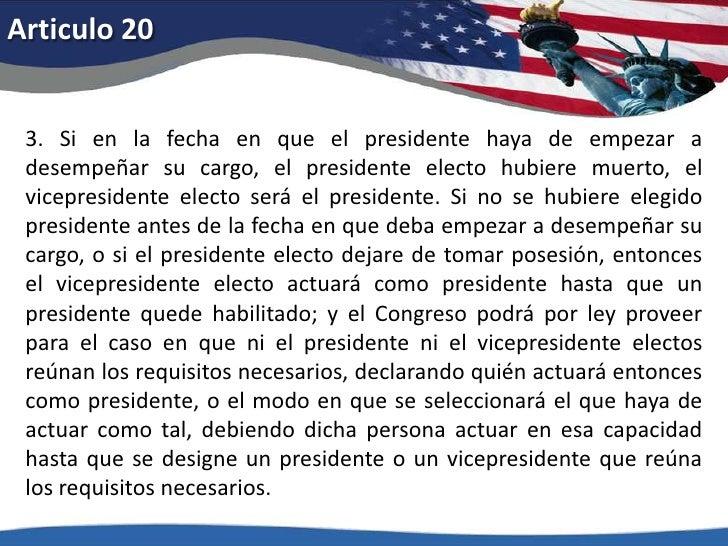 Articulo 14<br />3.No será senador o representante en el Congreso, ni compromisario para elegir presidente y vicepresident...