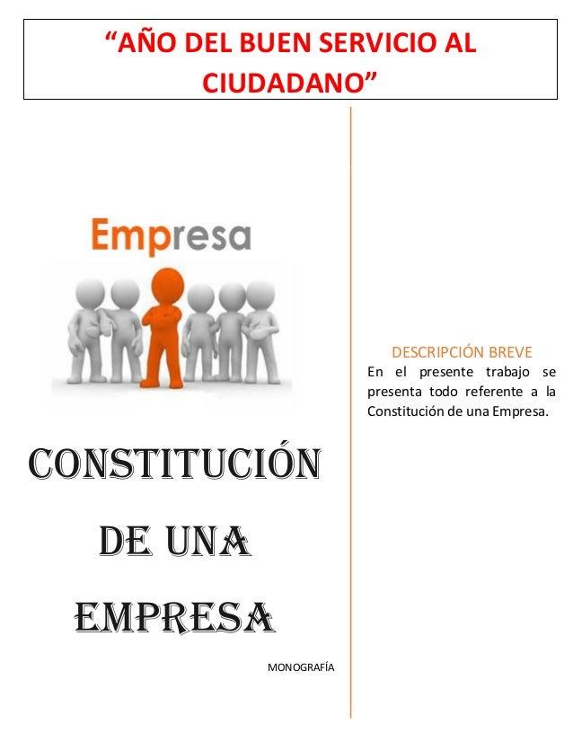 Constitucion De Una Empresa