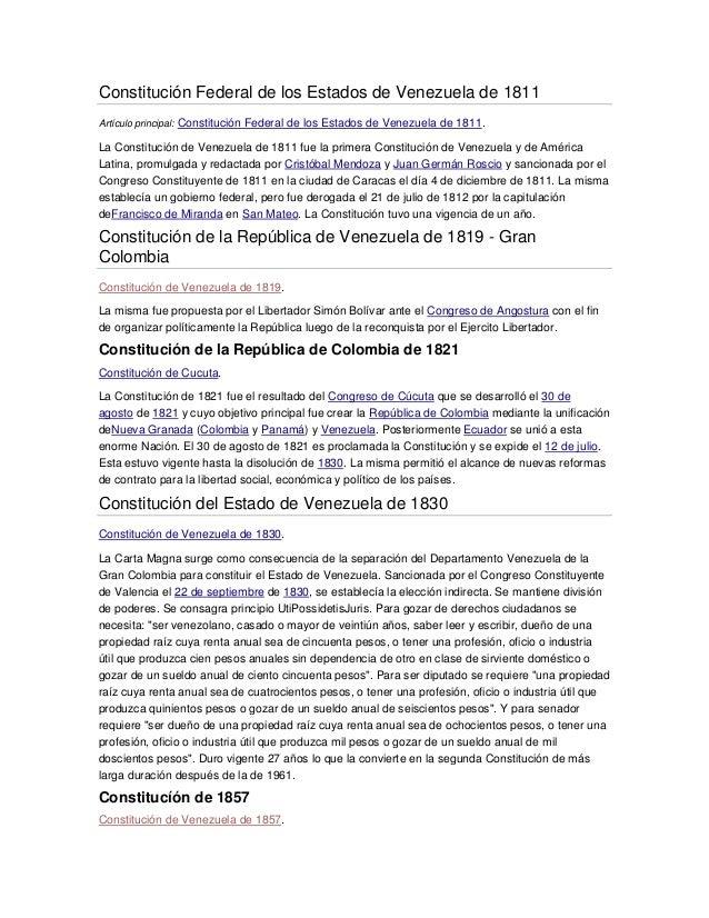 Constitución Federal de los Estados de Venezuela de 1811Artículo principal: Constitución Federal de los Estados de Venezue...