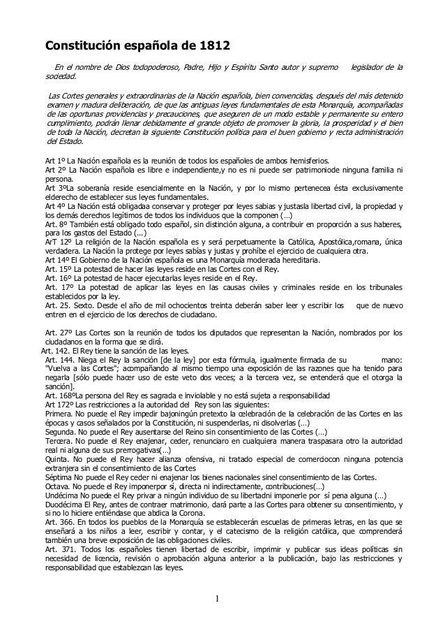 Constitución española de 1812 En el nombre de Dios todopoderoso, Padre, Hijo y Espíritu Santo autor y supremo sociedad.  l...