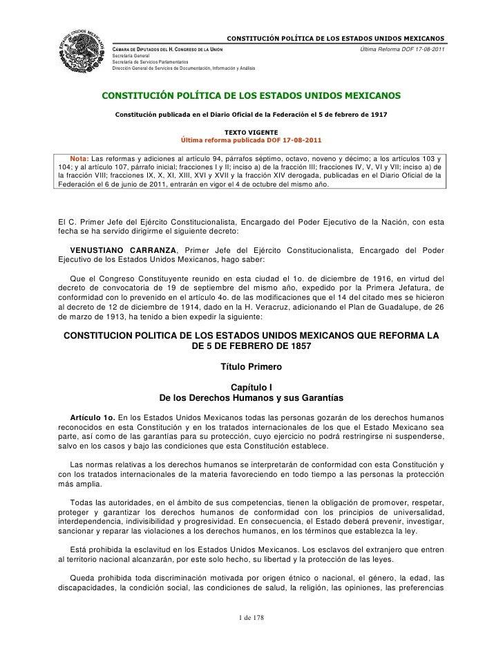 CONSTITUCIÓN POLÍTICA DE LOS ESTADOS UNIDOS MEXICANOS<br />Constitución publicada en el Diario Oficial de la Federación el...