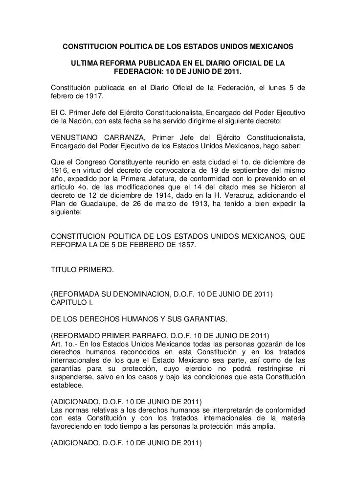 CONSTITUCION POLITICA DE LOS ESTADOS UNIDOS MEXICANOS      ULTIMA REFORMA PUBLICADA EN EL DIARIO OFICIAL DE LA            ...