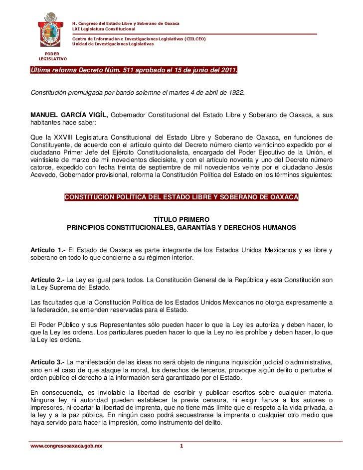 H. Congreso del Estado Libre y Soberano de Oaxaca                LXI Legislatura Constitucional                Centro de I...