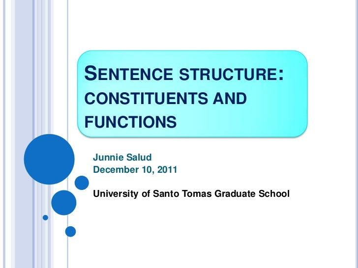 SENTENCE STRUCTURE:CONSTITUENTS ANDFUNCTIONSJunnie SaludDecember 10, 2011University of Santo Tomas Graduate School
