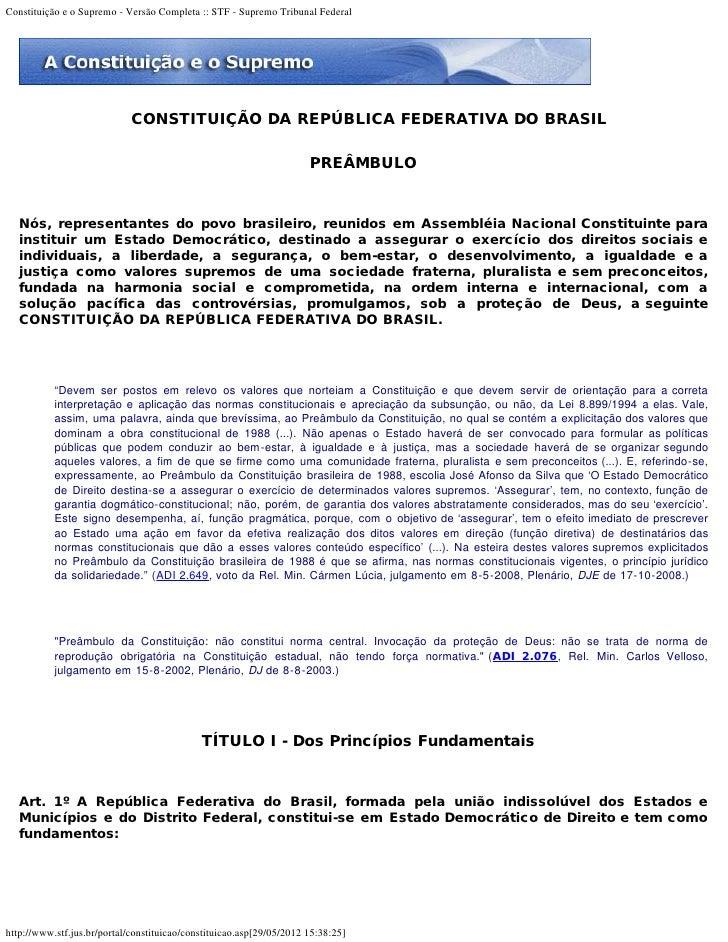 Constituição e o Supremo - Versão Completa :: STF - Supremo Tribunal Federal                             CONSTITUIÇÃO DA R...