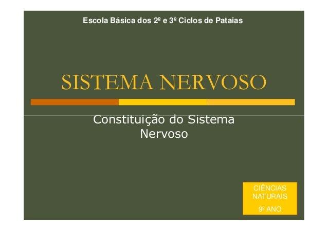 Escola Básica dos 2º e 3º Ciclos de Pataias  SISTEMA NERVOSO Constituição do Sistema Nervoso  CIÊNCIAS NATURAIS 9º ANO