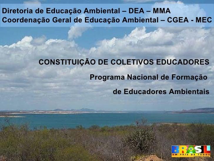 CONSTITUIÇÃO DE COLETIVOS EDUCADORES Programa Nacional de Formação  de Educadores Ambientais Diretoria de Educação Ambient...