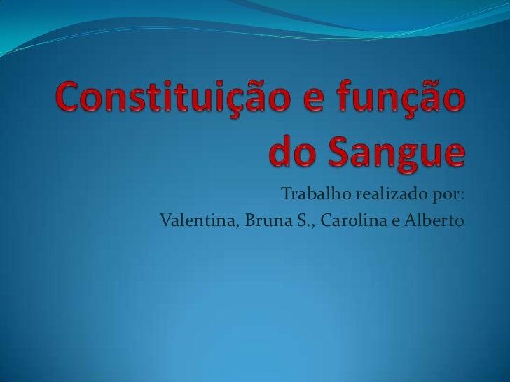 Trabalho realizado por:Valentina, Bruna S., Carolina e Alberto