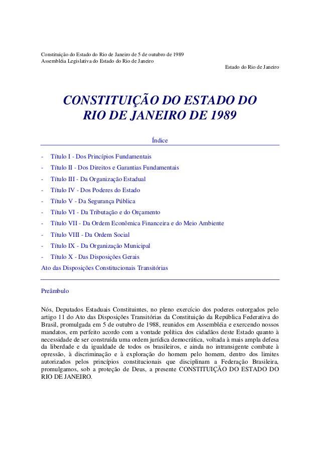 Constituição do Estado do Rio de Janeiro de 5 de outubro de 1989 Assembléia Legislativa do Estado do Rio de Janeiro Estado...