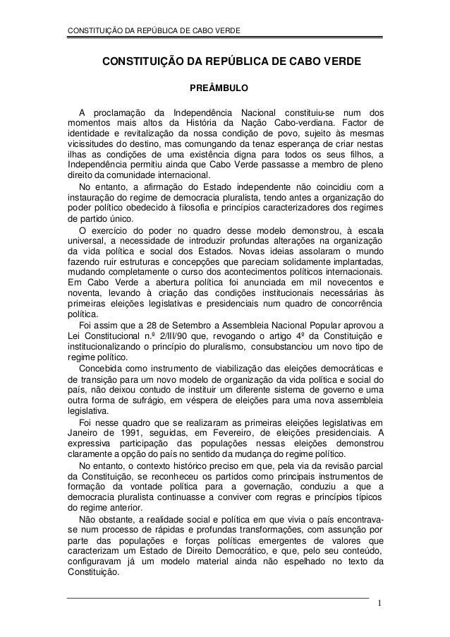 CONSTITUIÇÃO DA REPÚBLICA DE CABO VERDE        CONSTITUIÇÃO DA REPÚBLICA DE CABO VERDE                              PREÂMB...